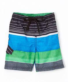Black & Blue Viper Stripe Swim Trunks - Toddler