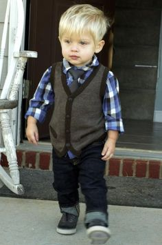 Business casual ring bearer lol. Love the dark denim, tie and vest.