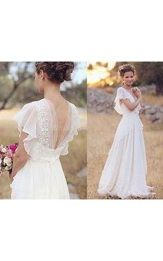 Bohemian Pearls Deep V Neck Backless Flower Beading Sheer Sleeve Pleats Chiffon Wedding Dress - June Bridals