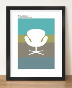 Visual Philosophy Retro poster - Arne Jacobsen Swan Chair Mid Century Modern, A3 giclée print