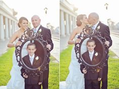 Frame within a frame. This couple had a son and we used an empty picture frame in this family portrait from the wedding! AlliChelle Photography » Utah Wedding Photographer | Southern California Wedding Photography