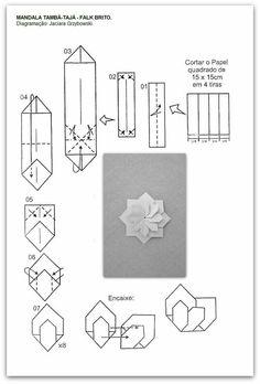 folding diagram for origami unit mandala . Gato Origami, Origami Yoda, Origami Star Box, Origami Dragon, Origami Fish, Origami Cards, Origami Paper Folding, Origami And Kirigami, Modular Origami
