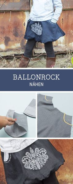 Einfache Nähanleitung und Schnittmuster für einen Ballonrock für Kinder, Rock nähen / diy sewing pattern for a baloon skirt for kids, fashion diy via DaWanda.com
