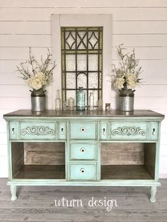 SoldVintage blue green farmhouse buffet entryway by UTurnDesign Refurbished Furniture, Unique Furniture, Shabby Chic Furniture, Furniture Makeover, Buffets Furniture, Painted Furniture, Furniture Ideas, Outdoor Furniture, Shabby Chic Vintage