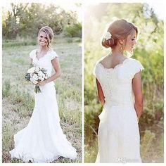 New White/Ivory Lace Mermaid Wedding Dress Cap Sleeve Simple Bridal Gowns Custom