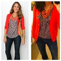 Pinterest Told Me To! Trouser jeans, polka dot top, orange cardigan, and orange statement necklace.