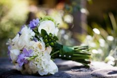 Bouquet - purple fresia, white roses, hydgrangea, greens?