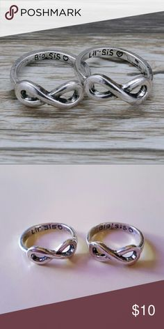 "Sisters Are for Infinity Rings Both rings are size 7. They come as a packaged set. This is the only size I have or that I can order. Lovely matching rings inscribed with ""Big Sis ♡"" and ""Little Sis ♡"". Very chic/vintage look! Great gift idea! A fantastic way to show your love for your big or little sister. Rings are a metal alloy. ♡ All my jewelry is new and never worn! ♡ I love to bundle! ♡ I also take special orders! Jewelry Necklaces"