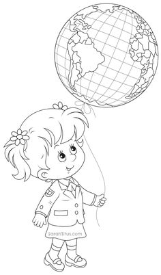 Back to School Coloring Pages - Sarah Titus School Coloring Pages, Coloring Book Pages, Coloring Sheets, Earth Day Projects, School Projects, Earth Day Activities, Fantasy Kunst, School Decorations, School Colors