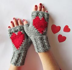 LOVE Red HEARTS Gray Hand Knitted Fingerless Wool by nastiadi