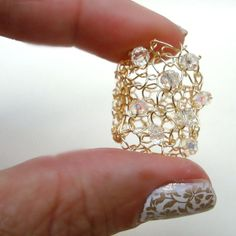 Big Gold Wire Knit Ring Sparkling Crystals Wide Open Lace Mesh Lapisbeach Hand Knit Jewelry New Summer 2013
