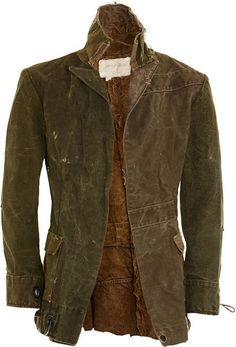 GREG LAUREN Green Duffle Bag Coat Reconstructed cotton canvas jacket with peaked lapel and front flap pockets made from vintage military duffle bags.