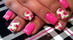 Light Elegance gel: Uptown Girl pink gel, perfect white gel and rose nail art hand painted