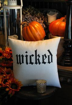 Halloween pillow or Wicked the musical pillow.