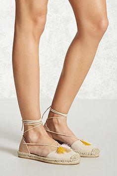 Tasseled Ankle-Wrap Espadrilles