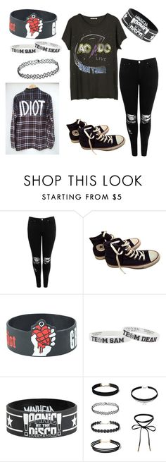 """Untitled #1578"" by laurenwolfchild ❤ liked on Polyvore featuring Boohoo and Converse"