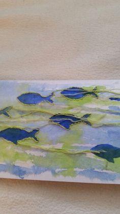 Geburtstagskarte für einen Fisch ,Aquarell, gestempelt und umstickt