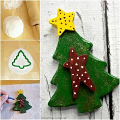 Salt Dough Christmas Tree Decoration - In The Playroom Salt Dough Christmas Ornaments, Christmas Tree Crafts, Colorful Christmas Tree, Mini Christmas Tree, Christmas Tree Decorations, Christmas Stockings, Tree Carving, Tree Shapes, Crafts For Kids To Make