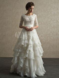 Elegantes Brautkleid mit Spitze-Ärmeln und stufigem Rock - Milanoo.com
