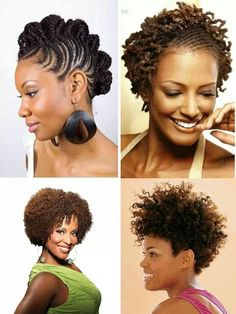 Four naturally beautiful styles. Natural hair rocks~