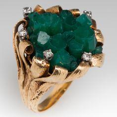 1960's Vintage Cocktail Ring Created Emerald Matrix 14K