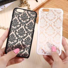 KISSCASE Pour iPhone 7 6 6 S Plus Palais Fleur Mince Dur PC Téléphone Case Pour iPhone 7 7 Plus 6 6 S Plus 5 5S 5SE Transparent couverture