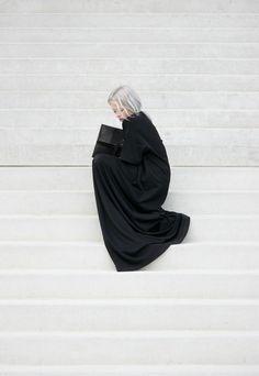 i-love-aesthetics:  showstudio:  dress, bag, nose bridge jewelry: Maison Martin Margiela  http://us.wconcept.com