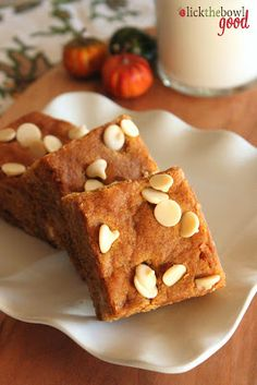Pumpkin white chocolate chip bars. Who cares if it's not fall? These sound like the perfect blend of sweet and spice.