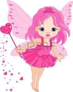 Ilustraci�n de Cute little hada de beb� de amor en mosca photo