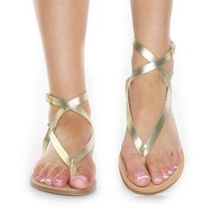 gold strappy sandals.