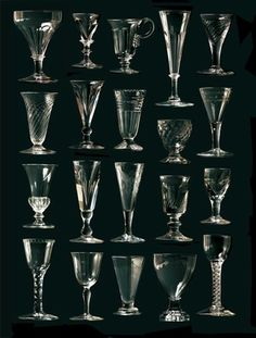 English Georgian and Victorian Glasses Antique Glassware, Crystal Glassware, Types Of Glasses, Vases, Or Antique, Glass Art, Wine Glass, 18th Century, Design