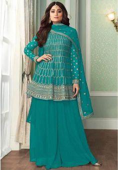 Regular price £105.00 GBP Sharara Suit, Salwar Kameez, Aqua Blue, Salwar Suits Online, Palazzo Suit, Georgette Fabric, Indian Ethnic Wear, Wedding Suits, Wedding Wear