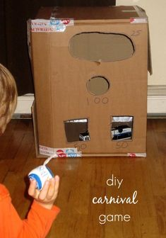 Turn a cardboard box into a carnival game