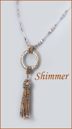 "Shimmer and Sway with this 35"" necklace and 4.75"" drop featuring sparkling crystals, and a beaded pearl cap and tassel. Using several stitches, such as Brick Stitch, Netting, Fringe and Peyote, as wel"