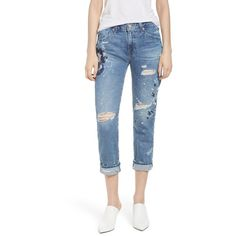 Women's Ag The Ex-Boyfriend Slim Jeans (380 CHF) ❤ liked on Polyvore featuring jeans, slim fit boyfriend jeans, blue jeans, frayed-hem jeans, boyfriend fit jeans and faded blue jeans