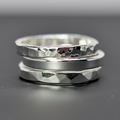 Hammered Silver Ring Pure Silver 3 to 4mm Band by seababejewelry