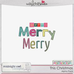 This Christmas - Alpha Pack from Midnight Owl Designs perfect for digital or hybrid  scrapbooking, These fun alphas can be used in lots of fun creative projects.