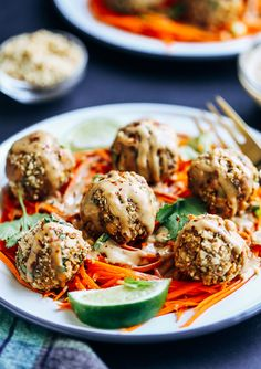 Thai Quinoa Meatballs- quinoa and chickpea balls jam-packed with Thai-inspired flavor. Serve over carrot noodles with peanut sauce for a hearty meal that's bursting with flavor! (vegan and gluten-free)