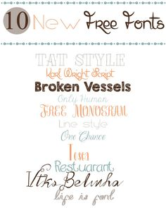 10 New Free Fonts from Bugs and Beans  ~~ {11 free fonts w/ easy download links}