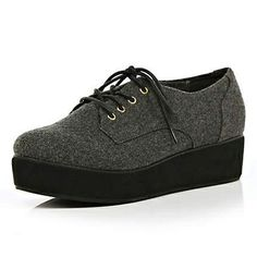 grey flatform shoes - flatforms / creepers - shoes / boots - women - River Island