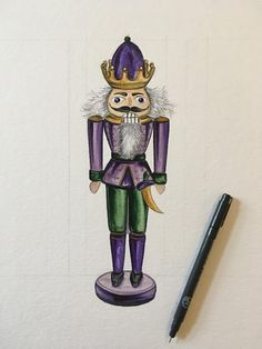 Sarah J. Loecker : Second Nutcracker Illustration Fluffy Hair, Austria, Two By Two, Art Pieces, Paper Crafts, Seasons, Illustration, Christmas, Painting