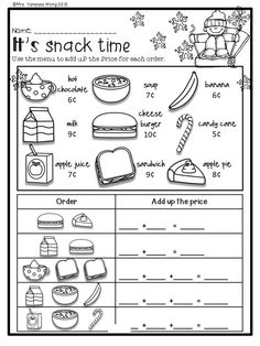 Free first grade activities and worksheets with fall, winter, spring and winter theme