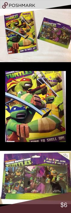 Teenage Mutant Ninja Turtles colorbook and crayons Teenage Mutant Ninja Turtles coloring/activity book and boxed crayons. This set includes a jumbo coloring and activity book and crayons. These are new in the package. Other