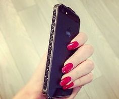 Excited to get my manicure tonight!! Long, red, oval nails