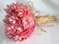 Pink Ginger rustic bouquet.  #weddings #floreriaRiviera #brides  http://www.FloresRivieraMaya.com/eng/weddings.php
