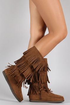 Soda Tiers of Fringe Moccasin Flat Boot – Style Lavish Flat Boots, Wedge Boots, Wedge Heels, Fringe Boots, Mid Calf Boots, Cute Shoes, Women's Shoes, Moccasins, Wedges