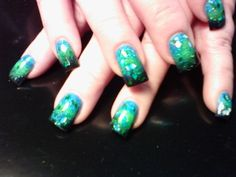 Peacock green , blue, black and added diamond foils.