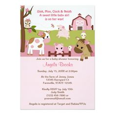 Abby's Farm Animal Girls Baby Shower GIRL PINK 5x7 Paper Invitation Card