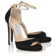 Black Suede Platform Sandals - Jimmy Choo PEARL 120