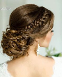 Low Up-dos With Braids Quinceanera Ideas Quinceanera Hairstyles Wedding Hairstyles For Long Hair, Wedding Hair And Makeup, Bride Hairstyles, Pretty Hairstyles, Bridal Hair, Bridal Party Hairstyles, Hairstyle Ideas, Hair Styles For Wedding, Semi Formal Hairstyles